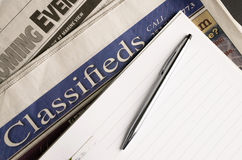 Local Newspaper Coming Events Classified Ads Pen Paper Jpb Hunting stock photo