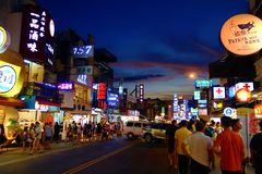 Night market at Kenting Main Street, Pingtung, Taiwan. Local night market located in Southern Taiwan, Pingtung district Stock Photos