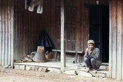 Local Old Man in Chin State, Myanmar Royalty Free Stock Image
