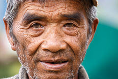 Local Old Man in Chin State, Myanmar Stock Photos