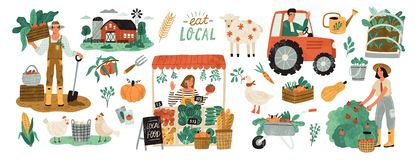 Local organic production set. Agricultural workers planting and gathering crops, working on tractor, farmer selling. Fruits and vegetables, farm animals vector illustration
