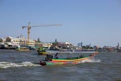 Local passenger ship for tourism sailing with crane stock image