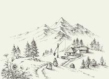 Local pastoral nas montanhas Fotos de Stock