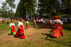 Local people celebrated Ivan Kupala Day,  Tervenichi, Russia. Royalty Free Stock Images