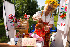 Local people celebrated Ivan Kupala Day, Tervenichi, Russia. Royalty Free Stock Image