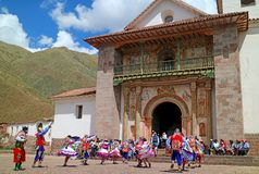 Local People Celebrating in front of San Pedro Apostol de Andahuaylillas Church on 10th May 2018, Andahuaylillas, Cusco, Peru royalty free stock photos