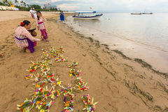 Local people during ceremony Melasti Ritual. Stock Image