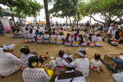 Local people during ceremony Melasti Ritual. Royalty Free Stock Photo