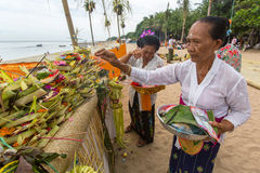 Local people during ceremony Melasti Ritual. Royalty Free Stock Image