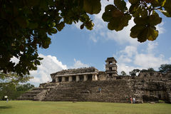 Local people enjoying a beautiful day in the ruins of Palenque in Mexico Royalty Free Stock Photography