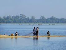 Local people fishing by the lake, Amarapura, Myanmar Royalty Free Stock Photos