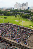 Manila, Philippines. Local People Gather at the Bastion of the Intramuros Wall. Local people gather at one of the bastions (baluarte) of the defensive wall in royalty free stock images