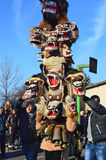 Local people gather for Surva celebration. Yardzhilovtsi, BULGARIA – January 14, 2016: Local people gather for Surva celebration with folk and mummers dances Stock Image