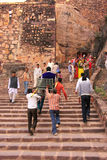 Local people going up the stairs at Ranthambore Fort, India Stock Image