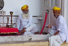 Local people in the Mehrangarh Fort in Jodhpur, India. Royalty Free Stock Image