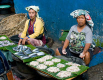 Local people sell fish at the market, Indonesia. Royalty Free Stock Photography