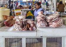 Local people sell meat and vegetables at the indoor market in Cu Royalty Free Stock Photos