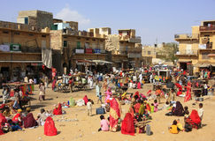 Local people shopping at market plaza in Jaisalmer, India Stock Photography