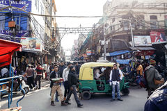 Local people on street of Delhi Royalty Free Stock Images