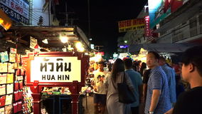 Local people and tourist shopping at famous night market stock video footage