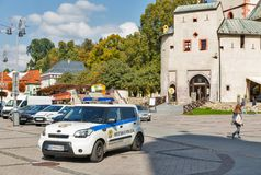 Local police car in Banska Bystrica Old Town, Slovakia. Royalty Free Stock Photos