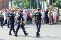 Local protest of the followers of a local news TV program Antena 3. The Protest of te supporters of a local TV Program, they are saying the Romanian president stock photography