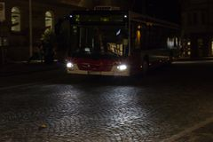 local public transport in historical city of south germany at october evening royalty free stock photography