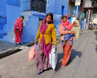 LOcal Rajasthani ladies in Jodhpur, India Royalty Free Stock Photos