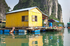 Local resident in Halong Bay Royalty Free Stock Images