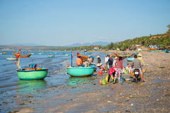 Local residents dismantled the morning catch in the Fishing harbour. Mui Ne Royalty Free Stock Photo