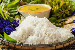 Local Rice vermicelli and curry sauce Royalty Free Stock Photos
