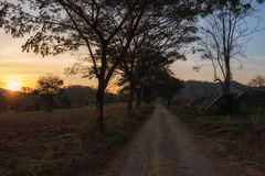 Local road at farm during sunset. Local road at farm in countryside with mountain background at sunset. Road trip and nature travel destination concept royalty free stock photo