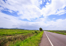 Local road in a rural area. A long local road in a rural area with white cloud and blue sky. The road is surrouded by green fields Royalty Free Stock Photography