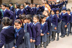 Local school children for tour in Humayuns Tomb complex, Delh Stock Photography