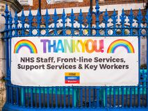A local school Thank You NHS banner displayed on fence.