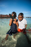 A local sea gypsy kid. SEMPORNA, Sabah, Malaysia. Children live here do not attend school for lack of means and resources Stock Image