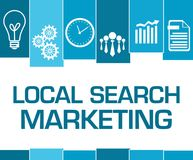Local Search Marketing Blue Stripes Symbols. Local search marketing text written over blue background with symbols Stock Images