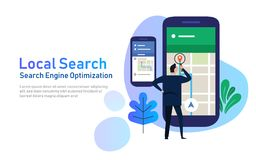 Local search marketing ecommerce. concept of mobile location SEO search engine optimization. large phone with business Stock Photo