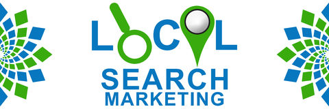 Local Search Marketing Green Blue Stock Photo