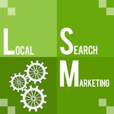 Local Search Marketing Green Four Blocks. Local search marketing text written over green blue background Stock Photography