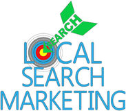 Local Search Marketing Target SEO. Arrow find Local Search website marketing target Stock Image
