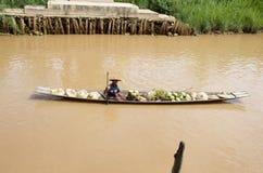 Local selling of his produce inlay lake. Burma Stock Image