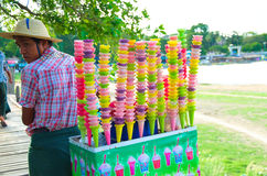 Local selling ice cream with colourful cones Royalty Free Stock Images