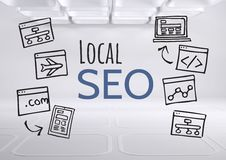 Local SEO text with drawings graphics Royalty Free Stock Photos