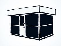 Shop stall. Vector drawing. Local show booth box stand exterior on white space for text. Black line hand draw empty town glass rack cabin symbol. Small urban vector illustration