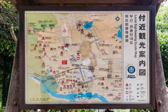Local sightseeing guide map at Bamboo forest of Arashiyama. Kyoto, Japan - May 7, 2016: Local sightseeing guide map at Bamboo forest of Arashiyama, Kyoto, Japan Royalty Free Stock Image