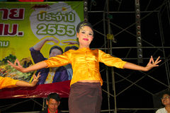 Local song contest. NACHAUK, MAHASARAKHAM, THAILAND - MARCH 17 : The unidentified woman is dancing in song contest on March 17, 2012 at city hall plaza, Nachauk Stock Photo