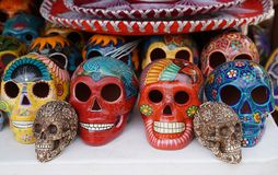 Local souvenirs on display at beach market in Playa Del Carmen, Mexico Stock Images