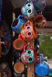 Local souvenirs on display at beach market in Playa Del Carmen, Mexico Royalty Free Stock Images