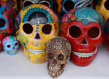 Local souvenirs on display at beach market in Playa Del Carmen, Mexico Royalty Free Stock Photos